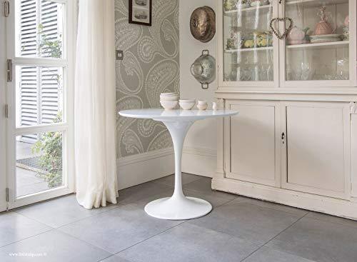 Little Tulip Shop Esstisch, laminiert, rund, Tulpen-Design, 90 cm, Weiß