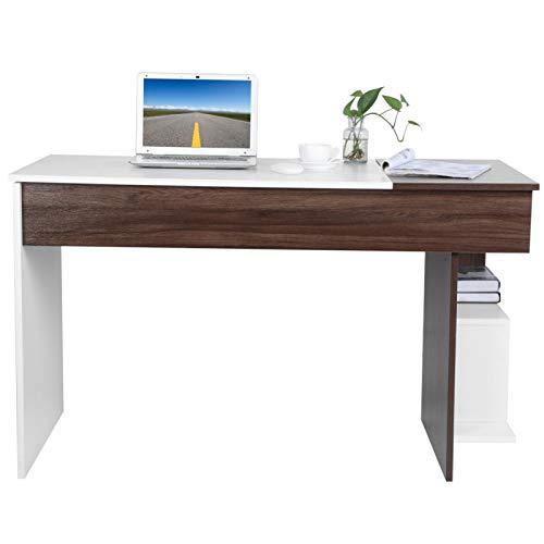 Cerlingwee Mesa, Escritorio con Efecto de Grano de Madera, Escritorio Blanco y Nogal Diseño Elegante para el hogar y la Oficina