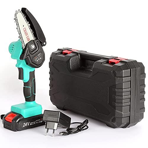 H-BEI Mini Motosierra con baterías, Motosierra eléctrica portátil inalámbrica de 4 Pulgadas...