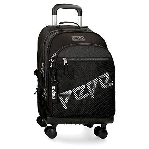 Pepe Jeans Ren 4W Rollbarer Rucksack Schwarz 32x44x21 cms Polyester 29.57L