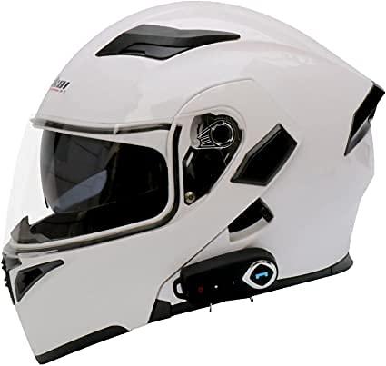 ANKYXIA Bluetooth Modular Flip Up Frontcycle Casco Ligero Ligero Visor Doble Motorbike Casco De Ciclomotor Casco De Ciclomotor Dot/Ece Aprobado Scooter Cascar Casco Constru(Size:XXL,Color:Blanco)