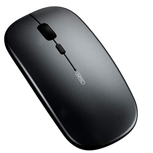 Ratón Bluetooth, Ratón inalámbrico Bluetooth Recargable silencioso de Tres Modos (BT5.0/ 3.0 + 2.4G inalámbrico), Ratón de Viaje portátil 1600DPI para computadora portátil, Android, Windows Ma
