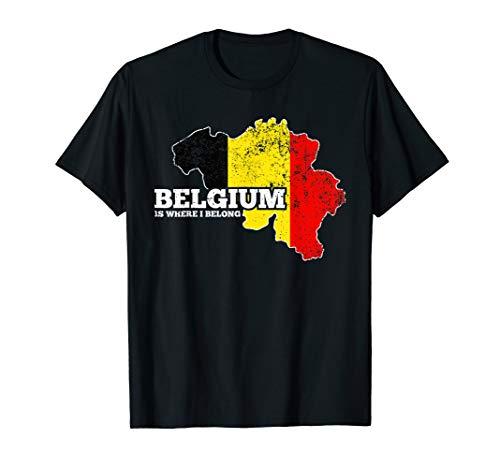 Belgien Flagge T-Shirt Trikot Belgische Fahne Urlaub Land