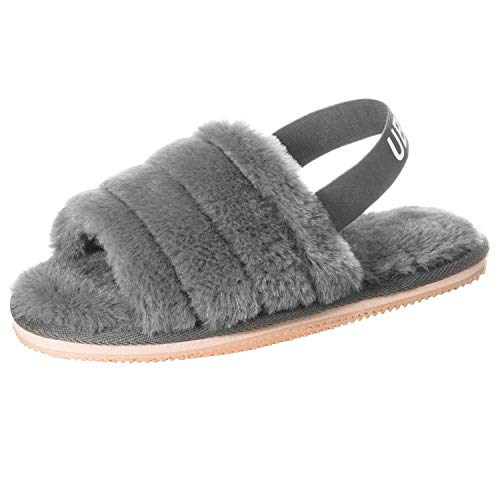 UBXRIN Womens Fuzzy Fluffy House Slippers Slide Furry Fur Sandals with Strap Soft Plush Open Toe Indoor Outdoor Grey