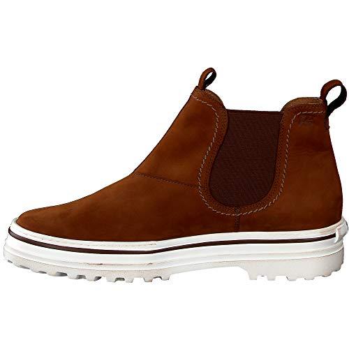 Paul Green Damen Chelsea Boots 9813 Nubukleder Gummizug robuste Laufsohle leicht, Groesse 40, Cognac