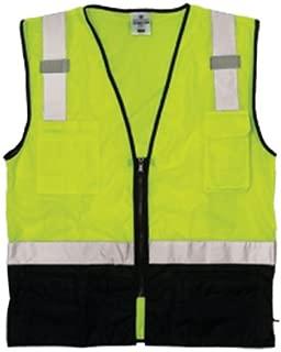 ML Kishigo 1509 Ultra-Cool Polyester Black Bottom Vest, Fits Large and Extra Large, Lime Black
