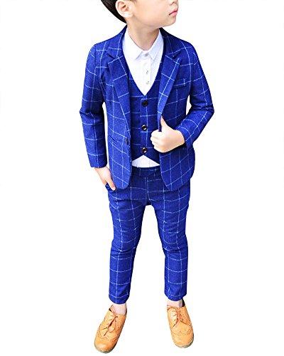 DianShao Jungen 3 Stück Formal Anzug Kinder Gentleman Weste + Blazer + Hosen Blau 120