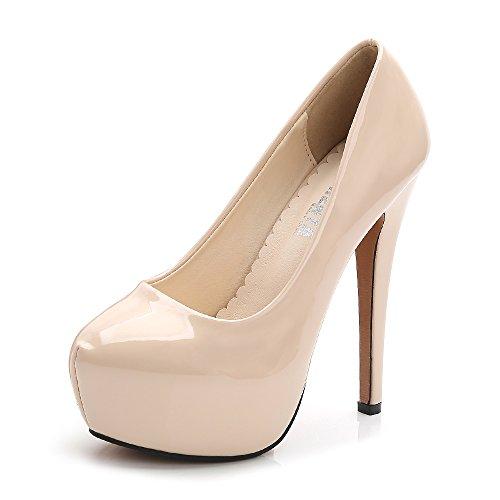 OCHENTA - Zapatos de tacón alto de punta redonda con plataforma oculta para mujer., color Beige, talla 42 EU