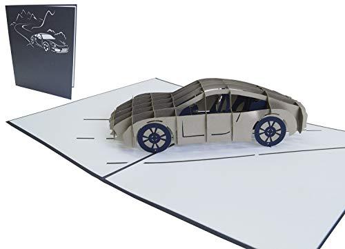LIN-POP UP Karten Grußkarten 3D Karten Geburtstagskarten Glückwunschskarten Führerschein, Auto