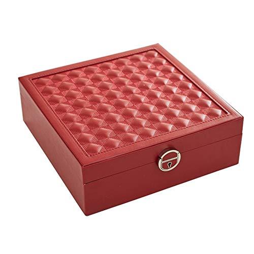 WANGLXCO Beau Classique Sac de Maquillage Portable, Trousse de Toilette Grande Capacité Organisateur de Produits Cosmétiques Brosse de Maquillage avec Pochette de Rangement Hermétique, Red