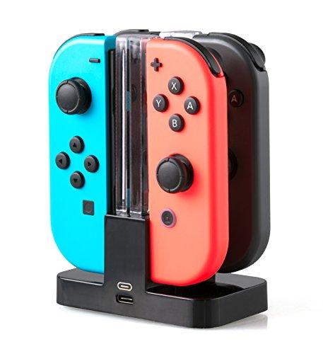 SKGAMES 4in1 Joy-Con Controller Ladestation Dockingstation Ladegerät Charger für Nintendo Switch / Schwarz / mit LED Anzeige
