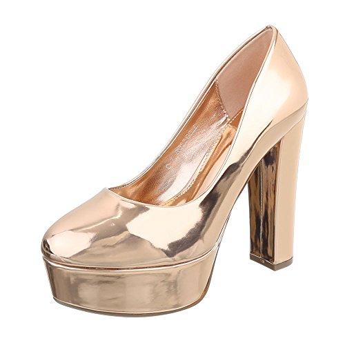 Ital-Design High Heel Pumps Damen-Schuhe High Heel Pumps Pump High Heels Pumps Pink, Gr 38, C-7-4-