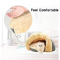 冬はクッションノンスリップボトム猫の巣ペット用品でセミクローズド洗える寝暖かい厚み付け小中大猫寝袋ディープにしてください (Color : Brown, Size : 41*46*34cm)