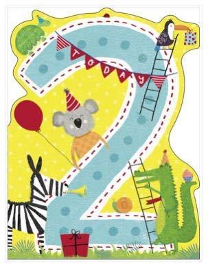 Watermark Ukg-734836 - Biglietto Di Auguri Per 2 Anni, Motivo: Animali Della Giungla, Colore: Blu