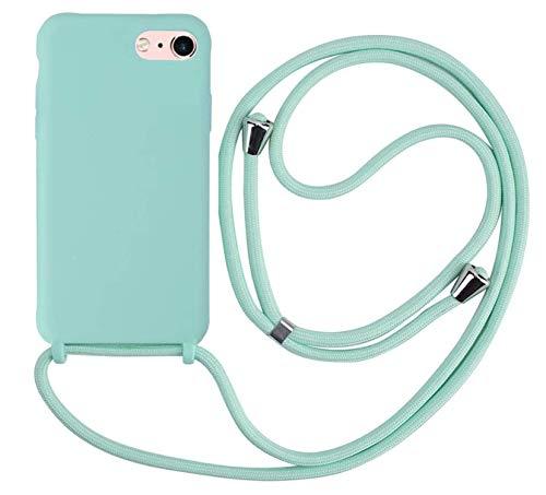 MEIVS Funda Compatible con iPhone 7/8 Plus, Ajustable Collar Correa de Cuello CordónCarcasa de Silicona-Verde Claro