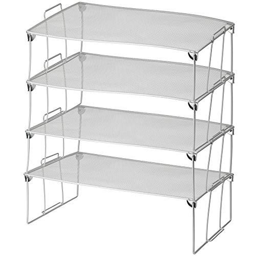 Ybm Home Stackable Mesh Shelf (Silver) - Multipurpose Storage Rack for Kitchen/Bathroom/Garage/Office – Durable, Wire Pantry Organizer – Foldable Space Saving Design 2257-4 (4, Large)