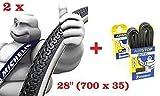 L'offerta comprende 2 x Copertone MICHELIN 28 x 1 5/8 - 1 3/8 (700 x 35) + 2 x Camera MICHELIN 28 x 1 5/8 - 1 3/8 (700 x 35) ideale bicicletta City Bike Donna / Uomo - con cambio o senza cambio Qualità Michelin, leader mondiale dal 1889 DISPONIBILE A...