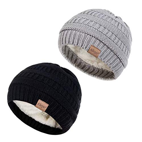 Alepo Fleece Lined Baby Beanie Hat, Infant Newborn Toddler Kids Winter Warm Knit Cap for Boys Girls (Black&Light Gray)