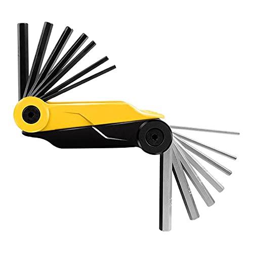 QODU Kit de Herramientas de reparación de Bicicletas Multifuncional Llave Allen Destornillador Bicicleta MTB Herramienta de reparación de Bicicletas de montaña Multiherramienta Amarillo