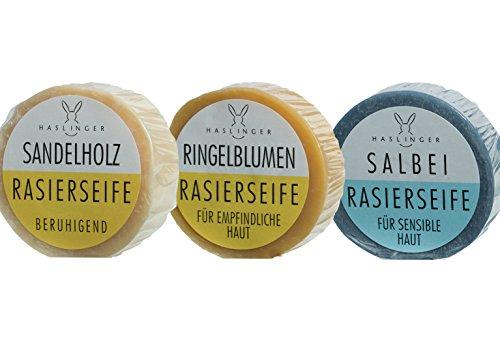 3er Set Haslinger Rasierseife (Salbei, Sandelholz, Ringelblume) je 60 Gramm