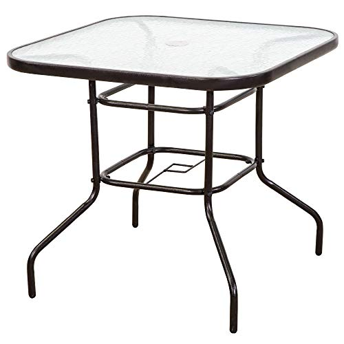 FurniTure Outdoor Patio Table Patio Tempered Glass Table 32' Patio Dining Tables with Umbrella Hole Perfect Garden Deck Lawn Square Table, Dark Chocolate