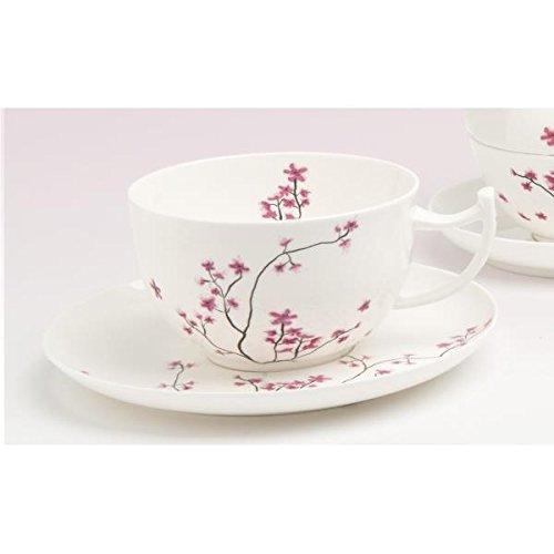 TeaLogic Tasse mit Untertasse Cherry Blossom Kirschblüten für 500ml Porzellan