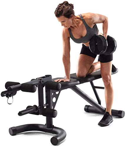 Weider XRS 20 Olympic Workout Bench with Independent Squat Rack and Preacher Pad