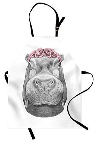 Soefipok Hippo-Schürze, Bleistift von Hand gezeichnetes Tierportrait mit Blumenkopfkranz, Unisex-Küchenschürze mit verstellbarem Hals zum Kochen Backen im Gartenbau, Grau-Hellgrau und Hellrosa