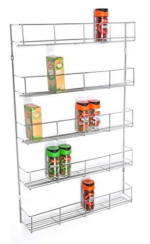 5 niveles de acabado cromado de 420 mm de ancho para especias y hierbas, soporte de almacenamiento para pared o armario de cocina con capacidad para 40
