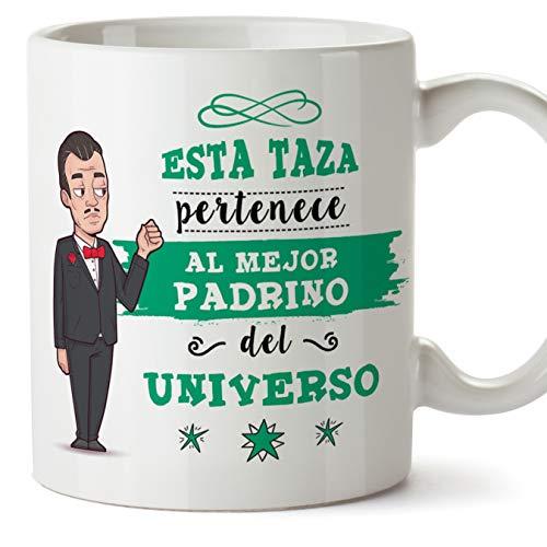 MUGFFINS Taza Padrino - Esta Taza Pertenece al Mejor Padrino del Universo - Taza Desayuno/Idea Regalo Original/Día de Pascua para Padrinos. Cerámica