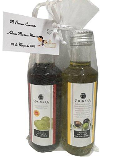 Regalo con botella de Aceite de Oliva Virgen Extra y Vinagre de Jerez D.O. de La Chinata en bolsa de organza para invitados (Pack 24 ud)