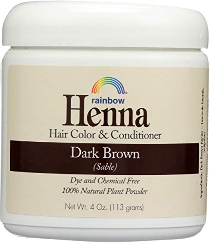 Rainbow Research Henna Color y acondicionador para el cabello, color marrón oscuro, 4 onzas