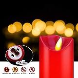 OSHINE LED Kerzen, Flammenlose Kerzen 300 Stunden Dekorations-Kerzen-Säulen im 5er Set (10,2 cm 12,7 cm 15,2 cm,17.8 cm,20.3 cm) rot Geeignet für Weihnachtsdekoration - 4