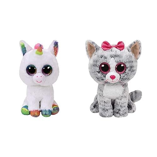 TY Beanie Boos Pixy-Unicornio Blanco 15 Cm (36852), Color/Modelo Surtido + Kiki, Peluche Gatita, 15 Cm, Color Gris (United Labels Ibérica 37190), Color/Modelo Surtido