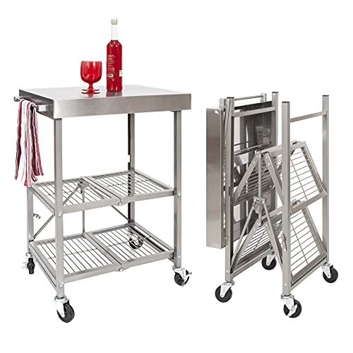 Origami Folding Kitchen Cart on Wheels   for Chefs Outdoor Coffee Wine and Food, Microwave Cart, Kitchen Island on Wheels, Rolling Cart, Kitchen Appliance & Utility Cart, Commercial-Grade Metal