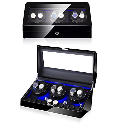 VIY Caja Relojes Automaticos Giratoria Estuche para Reloj Automático Enrollador Cajas Organizadora con Motor Silencioso Hombre Mujer Watch Winder Box Guarda Relojes de Exhibición,G