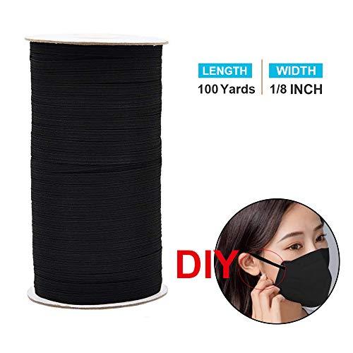 Cuerda elástica trenzada anchura, cuerda elástica de alta elasticidad, de punto elástico, cuerda elástica para bricolaje, costura, manualidades, tejido, colcha, puño 1/8 inch Width negro