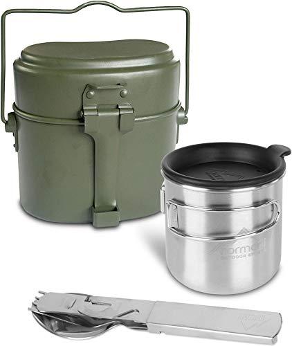 normani Bundeswehr Essgeschirrset Bund Essbesteck + BW Aluminium Kochgeschirr + Feldtasse mit Klappgriffen 500 ml + Trinkdeckel + Flaschenöffner und Dosenöffner