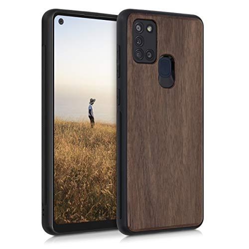 kwmobile Bumper Schutzhülle kompatibel mit Samsung Galaxy A21s - Hülle - Holz Handy Hülle Cover Dunkelbraun