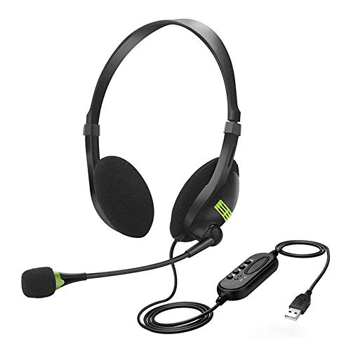 XWY Headset with Microphone Noise Cancelling & Audio Controls,USB Wired Headphones Suitable for Pc/Laptop/Mac,Durable & Comfortable,3D Surround &30MM Driver