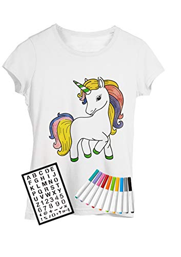 Coloring Shirt Comes with Fabric Markers and Alphabet Stencil. (Large (10-12), Unicorn)