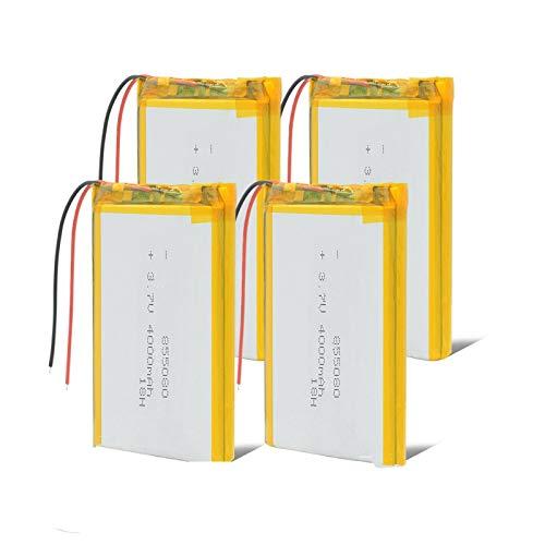 Batería de Iones de Litio de 3,7 v batería Recargable de polímero de 3 7 v 855080 4000 mAh para Tableta MP4 MP5 GPS DVD PDA Mid BT Altavoz 4Pcs