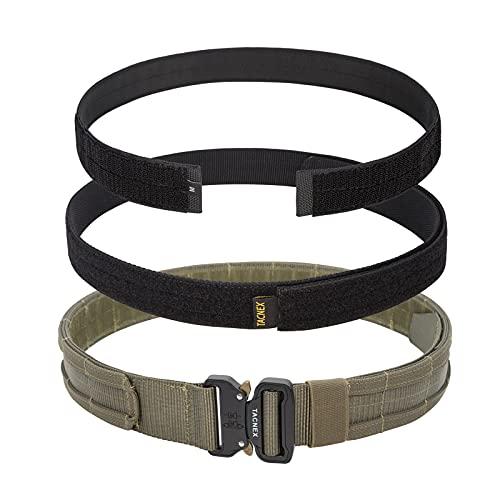 TACNEX 1.75' MOLLE Battle Belt Tactical Heavy Duty Belt with Inner Belt & Inner Belt Pad Quick Release Buckle Two Belt System (Ranger Green, Large)