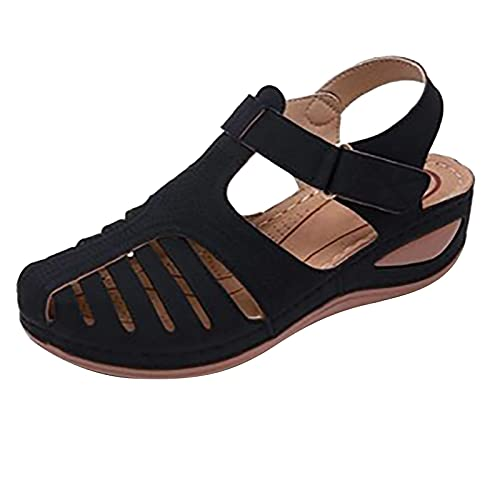 Bravetoshop Womens Wedge Sandals, Comfort Hook and Loop Summer Athletic Flat Sandals...