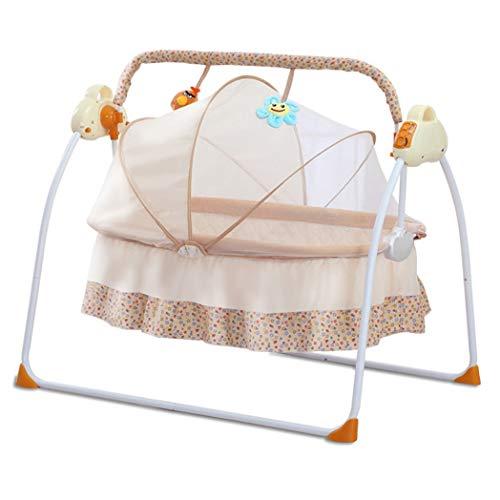 JCSW Balancin Bebe Columpios Infantiles, Vibraciones Relajantes, Hamaca Bebe con Sistema Balancín y Reductor, Cosas para Bebes Columpio Bebe de 0 a 12 kg, Rosa, G001JY (Color : Beige)