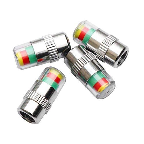 Premium Qualité 4 pcs Auto Pneu De Voiture Pression d'air 3 Indicateur De Couleur en Plastique Valve d'air Tige Cap Couverture Accessoires Li-ly