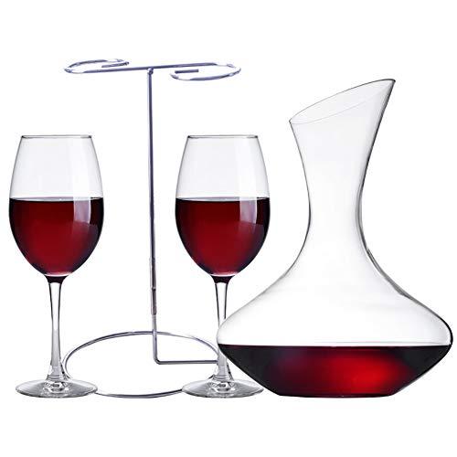 Z·Bling Decantador de Vino con Copas incluídas (2 Copas de Cristal) Jarra conservadora de Vino Tinto - Regalo Ideal enotecas - Accesorio para Regalar a los Amantes del Vino