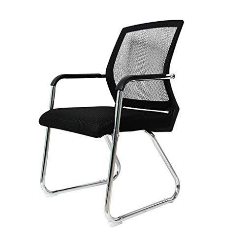 Mid-Back Mesh Schreibtisch-Stuhl für Büro/Zuhause, Nylon-Armlehne, gepolsterter Sitz, Rücken-Kissen, Stahlkufen-Gestell und ca. 150 kg Belastbarkeit, Schwarz