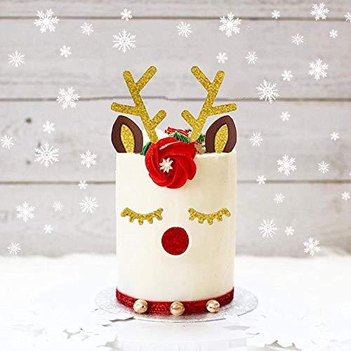Set of 3 JeVenis Glittery Deer Antler Cake Decoration Reindeer Antlers Cake Topper Deer Cake Decoration for Christmas Kid Birthday Wedding Baby Shower