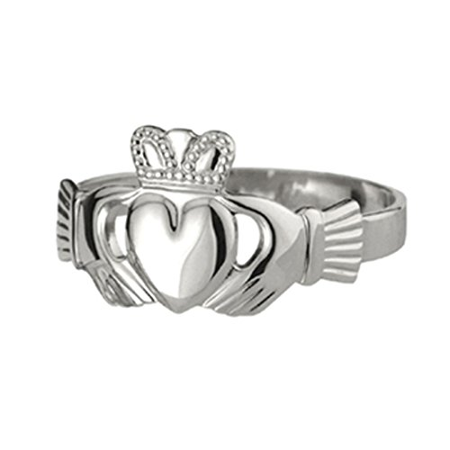 Medium-Sized Solvar Claddagh Ring With Puffed Heart, Hallmarked Sterling Silver